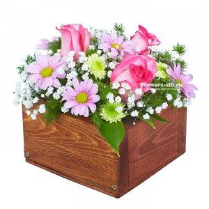 Цветов киев цветочные букеты в корзине купить